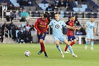 SAINT PAUL, MN - APRIL 24: Pablo Ruiz #6 of Real Salt Lake passes the ball during a game between Real Salt Lake and Minnesota United FC at Allianz Field on April 24, 2021 in Saint Paul, Minnesota.