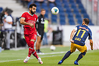 25th August 2020, Red Bull Arena, Slazburg, Austria; Pre-season football friendly, Red Bull Salzburg versus Liverpool FC;  Mohamed Salah FC Liverpool passes across Andreas Ulmer FC Red Bull Salzburg