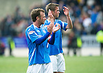 St Johnstone v Rangers....13.05.12   SPL.Jody Morris and Chris Millar both leaving St Johnstone applaud the fans at full time.Ally McCoist all smiles before kick off.Picture by Graeme Hart..Copyright Perthshire Picture Agency.Tel: 01738 623350  Mobile: 07990 594431