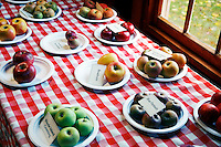 Apples displayed on table top