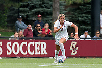 NEWTON, MA - AUGUST 29: Laura Gouvin #8 of Boston College brings the ball forward during a game between University of Connecticut and Boston College at Newton Campus Soccer Field on August 29, 2021 in Newton, Massachusetts.