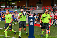 Assistant referees Nicolas Picman, Mostapha Chakouath, match referee Federico Baptiste (with the ball) pictured entering the pitch before a female soccer game between Standard Femina de Liege and Eendracht Aalst dames on the fourth matchday in the 2021 - 2022 season of the Belgian Scooore Womens Super League , Saturday 11 th of September 2021  in Angleur , Belgium . PHOTO SPORTPIX   BERNARD GILLET