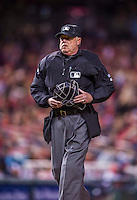 5 April 2014: MLB Umpire Jim Joyce works home plate during a game between the Atlanta Braves and the Washington Nationals at Nationals Park in Washington, DC. The Braves defeated the Nationals 6-2 to take the second game of their 3-game series. Mandatory Credit: Ed Wolfstein Photo *** RAW (NEF) Image File Available ***