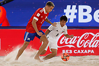 29th August 2021; Luzhniki Stadium, Moscow, Russia: FIFA World Cup Beach Football tournament; Russia versus Japan;  Russia's Andrei Novikov challenges Japan's Naoya Matsuo, during the match between Russia and Japan