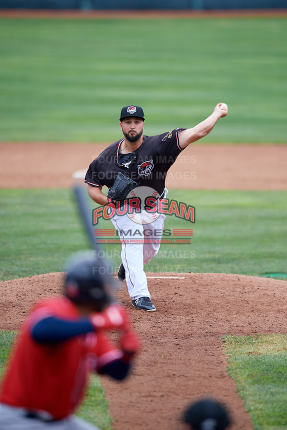 Erie SeaWolves relief pitcher Hunter Cervenka (45) delivers a pitch during a game against the New Hampshire Fisher Cats on June 20, 2018 at UPMC Park in Erie, Pennsylvania.  New Hampshire defeated Erie 10-9.  (Mike Janes/Four Seam Images)