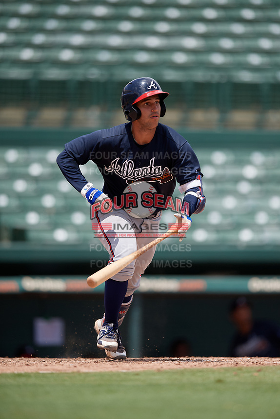 GCL Braves Javier Valdes (11) bats during a Gulf Coast League game against the GCL Orioles on August 5, 2019 at Ed Smith Stadium in Sarasota, Florida.  GCL Orioles defeated the GCL Braves 4-3 in the second game of a doubleheader.  (Mike Janes/Four Seam Images)