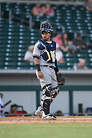Peoria Javelinas catcher Mario Feliciano (6), of the Milwaukee Brewers organization, during an Arizona Fall League game against the Mesa Solar Sox at Sloan Park on October 11, 2018 in Mesa, Arizona. Mesa defeated Peoria 10-9. (Zachary Lucy/Four Seam Images)