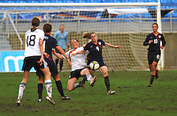 Heather O'Reilly vies to win the ball. The USA captured the 2010 Algarve Cup title by defeating Germany 3-2, at Estadio Algarve on March 3, 2010.