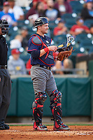 Lehigh Valley IronPigs catcher Andrew Knapp (15) during a game against the Buffalo Bisons on July 9, 2016 at Coca-Cola Field in Buffalo, New York.  Lehigh Valley defeated Buffalo 9-1 in a rain shortened game.  (Mike Janes/Four Seam Images)