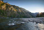 Idaho, Central, Frank Church River of No Return Wilderness Area. The Salmon River at sunset in mid July fromjust off shore.