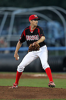 Batavia Muckdogs pitcher Chris Corrigan (16) delivers a pitch during a game vs. the Lowell Spinners at Dwyer Stadium in Batavia, New York July 14, 2010.   Batavia defeated Lowell 12-2.  Photo By Mike Janes/Four Seam Images