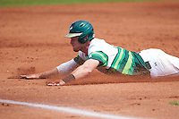South Florida Bulls right fielder Luke Maglich (18) slides into third head first during a game against the Dartmouth Big Green on March 27, 2016 at USF Baseball Stadium in Tampa, Florida.  South Florida defeated Dartmouth 4-0.  (Mike Janes/Four Seam Images)