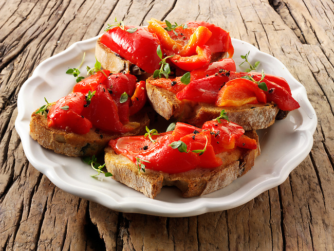 Roast red peppers on toasted rye bread sandwiches - bruschettas.