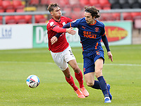 Blackpool's Jordan Williams holds off the challenge from Crewe Alexandra's Harry Pickering<br /> <br /> Photographer Rich Linley/CameraSport<br /> <br /> The EFL Sky Bet League One - Crewe Alexandra v Blackpool - Saturday 17th October 2020 - Gresty Road - Crewe<br /> <br /> World Copyright © 2020 CameraSport. All rights reserved. 43 Linden Ave. Countesthorpe. Leicester. England. LE8 5PG - Tel: +44 (0) 116 277 4147 - admin@camerasport.com - www.camerasport.com