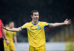Dundee v St Johnstone…10.03.18…  Dens Park    SPFL<br />Steven MacLean screams at the linesman<br />Picture by Graeme Hart. <br />Copyright Perthshire Picture Agency<br />Tel: 01738 623350  Mobile: 07990 594431