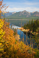 Hungry Horse Reservoir in Autumn with the Great Bear Wilderness in the background.