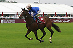 October 04, 2015, Paris, France -  Cymric with William Buick up at the parade canter for the Qatar Prix  Jean-Luc Lagardere (Group I) at  Longchamp Race Course  [Copyright (c) Sandra Scherning/Eclipse Sportswire]