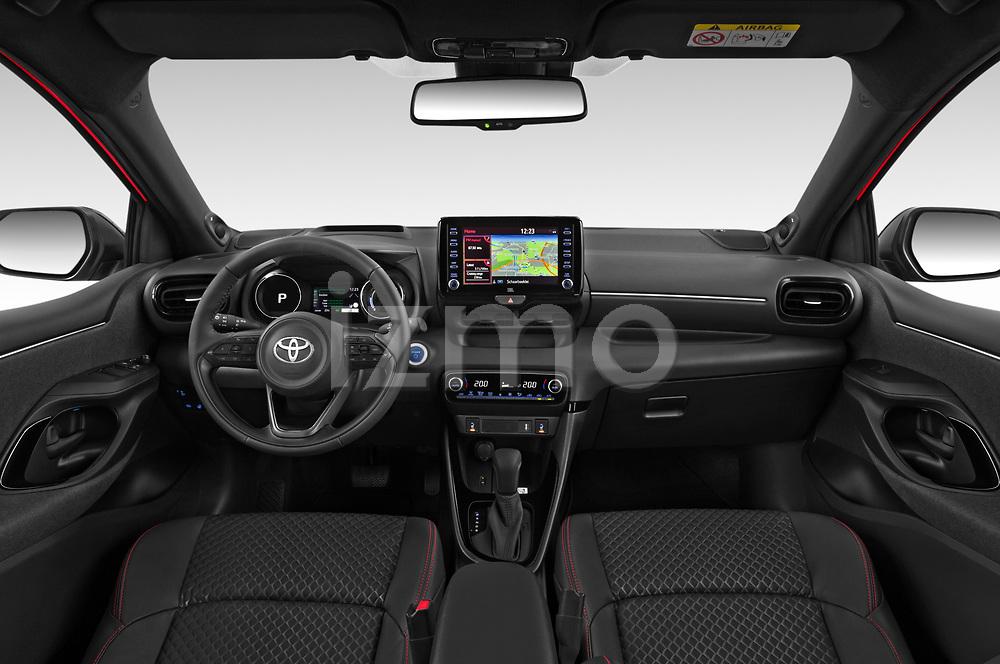 Stock photo of straight dashboard view of 2020 Toyota Yaris Premier 5 Door Hatchback Dashboard