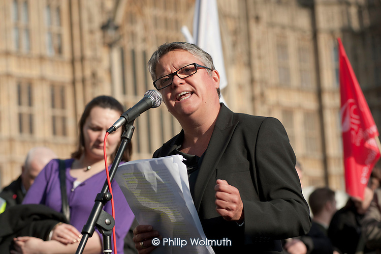 Karon Monaghan QC, of Matrix Chambers, addresses a joint union lobby of Parliament over the Public Bodies Bill, Westminster, London.