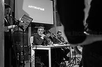 """(From L to R) Nappi, Di Matteo, Resta, Lodato.<br /> <br /> Rome, 08/02/19. Moby Dick Library in Garbatella & Antimafia Duemila(2.) held the presentation of the book """"Il Patto Sporco"""" (The Dirty Pact. The Trial State-mafia in the Story [narrated] by his Protagonist, Chiarelettere,1.) hosted by the author of the book Saverio Lodato (Journalist & Author), Antonino 'Nino' Di Matteo (Protagonist of the book, Antimafia Magistrate of Palermo, member of the DNA - Antimafia & Antiterrorism National Directorate - who """"prosecuted the Italian State for conspiring with the Mafia in acts of murder & terror"""",3.4.5.6.) & Giorgio Bongiovanni (Editor of Antimafia Duemila). Chair of the event was Silvia Resta (Journalist & Author). Readers were: Bianca Nappi & Carlotta Natoli (both Actresses). From the back cover of the book: """"Let us ask ourselves why politics, institutions, culture, have needed the words of judges to finally begin to understand…A handful of magistrates and investigators have shown not to be afraid to prosecute the [Italian] State. Now others must do their part too"""" (Nino Di Matteo). """"In the pages of this book I wanted the magistrate, the man, the protagonist and the witness to speak about a trial destined to leave its mark"""" (Saverio Lodato). From the book online page: """"The attacks to Lima [politician], Falcone & Borsellino [Judges], the bombs in Milan, Florence, Rome, the murders of valiant police commissioners & officers of the carabinieri. The [Ita] State on its knees, its best men sacrificed. However, while the blood of the massacres was still running there were those who, precisely in the name of the State, dialogued and interacted with the enemy. The sentence of condemnation of Palermo [""""mafia-State negotiation"""" trial which is told in the book], against the opinion of many 'deniers', proved that the negotiation not only was there but did not avoid more blood. On the contrary, it provoked it""""(1.).<br /> Footnotes & links provided at 2nd & last page."""