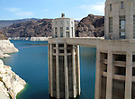 View of Hoover Dam intake towers and Lake Mead.