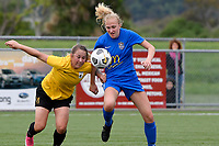 Emily Morison of Southern competes for the ball with Libby Boobyer of Capital during the Handa Women's Premiership - Capital Football v Southern United at Petone Memorial Park, Wellington on Saturday 7 November 2020.<br /> Copyright photo: Masanori Udagawa /  www.photosport.nz