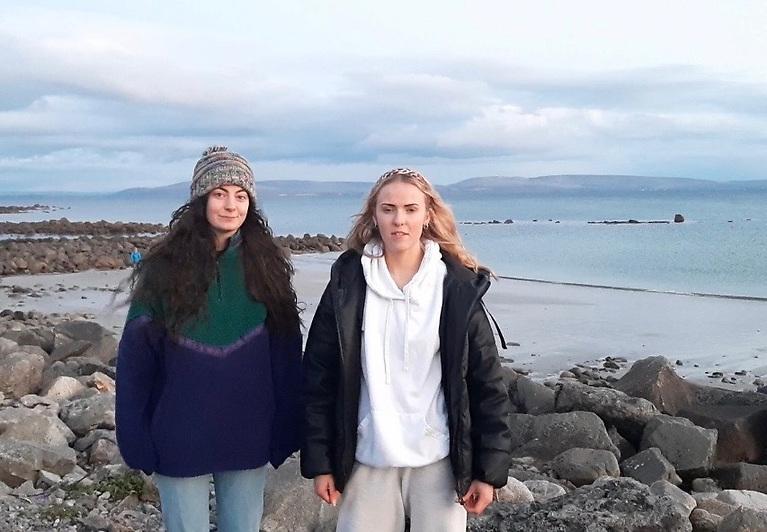 Sara Feeney (left) Ellen Glynn on the shores of Galway Bay