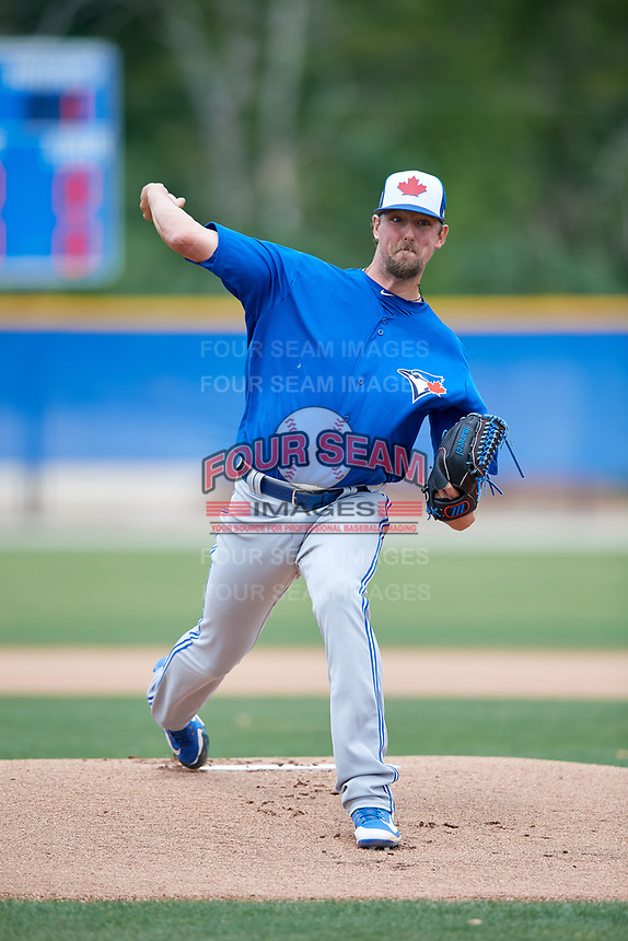 Toronto Blue Jays pitcher Deck McGuire (82) during a Minor League Spring Training Intrasquad game on March 31, 2018 at Englebert Complex in Dunedin, Florida.  (Mike Janes/Four Seam Images)