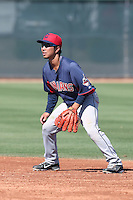 Takuya Tsuchida #20 of the Cleveland Indians during a Minor League Spring Training Game against the Los Angeles Dodgers at the Los Angeles Dodgers Spring Training Complex on March 22, 2014 in Glendale, Arizona. (Larry Goren/Four Seam Images)