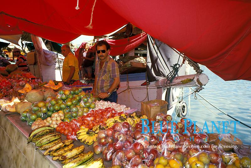 Venezuelan produce vendor at the Floating Market, Curacao, Netherland Antilles or Dutch ABC Island, Caribbean, Atlantic