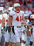 Ball State Cardinals defensive end Andrew Puthoff (41) in action during the game between the Ball State Cardinals  and the Oklahoma Sooners at the Oklahoma Memorial Stadium in Norman, Oklahoma. OU defeats Ball State 62 to 6.