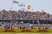 18th July 2021; Silverstone Circuit, Silverstone, Northamptonshire, England; Formula One British Grand Prix, Race Day; The packed grandstands for the largest sporting event in the UK since COVID restrictions were imposed