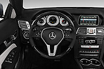 Steering wheel view of a 2014 Mercedes E Class 350 Convertible