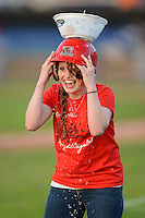 Batavia Muckdogs fan during an on field promotion in between innings during a game against the Mahoning Valley Scrappers on June 21, 2013 at Dwyer Stadium in Batavia, New York.  Batavia defeated Mahoning Valley 3-2.  (Mike Janes/Four Seam Images)