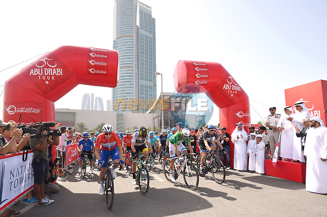 The jersey holders lined up for the ceremonial start of Stage 3 of the 2018 Abu Dhabi Tour, Nation Towers Stage running 133km from Nation Towers to Big Flag, Abu Dhabi, United Arab Emirates. 23rd February 2018.<br /> Picture: LaPresse/Massimo Paolone | Cyclefile<br /> <br /> <br /> All photos usage must carry mandatory copyright credit (© Cyclefile | LaPresse/Massimo Paolone)