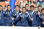 The Hague, Netherlands, June 15: The third placed team of Argentina poses during the prize giving ceremony on June 15, 2014 during the World Cup 2014 at Kyocera Stadium in The Hague, Netherlands. (Photo by Dirk Markgraf / www.265-images.com) *** Local caption ***