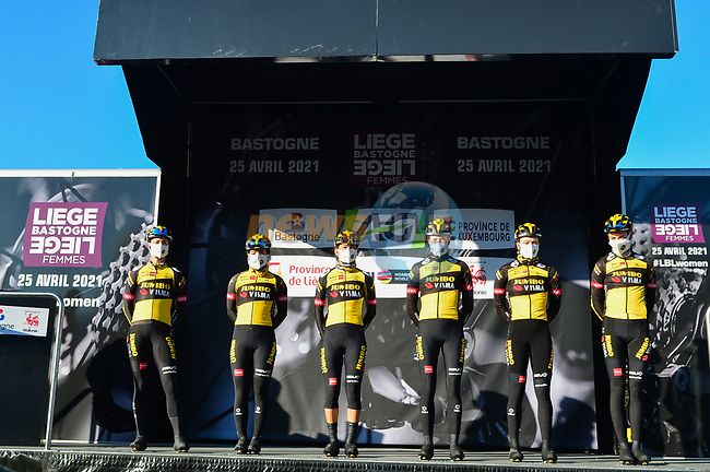 Jumbo-Visma Women Cycling Team at the team presentations before the start of Liege-Bastogne-Liege Femmes 2021, running 141km from Bastogne to Liege, Belgium. 25th April 2021.  <br /> Picture: A.S.O./Gautier Demouveaux | Cyclefile<br /> <br /> All photos usage must carry mandatory copyright credit (© Cyclefile | A.S.O./Gautier Demouveaux)