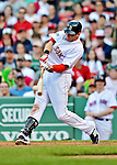 9 June 2012: Boston Red Sox outfielder Ryan Sweeney doubles in the 9th inning against the visiting Washington Nationals at Fenway Park in Boston, MA. The Nationals defeated the Red Sox 4-2 in the second game of their 3-game series. Mandatory Credit: Ed Wolfstein Photo