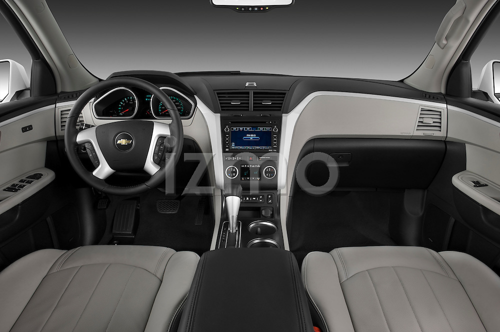 Straight dashboard view of a 2009 Chevrolet Traverse LTZ.