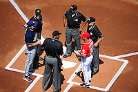 23 August 2009: Lineup cards are exchanged at home plate prior to a game between the Washington Nationals and the Milwaukee Brewers at Nationals Park in Washington, DC. The Nationals defeated the Brewers 8-3 to take the third game of their four-game series, snapping a five games losing streak. Mandatory Credit: Ed Wolfstein Photo