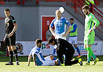 Hamilton Accies v St Johnstone…25.09.16.. New Douglas Park   SPFL<br />Richie Foster gets treatment but has to be subbed<br />Picture by Graeme Hart.<br />Copyright Perthshire Picture Agency<br />Tel: 01738 623350  Mobile: 07990 594431