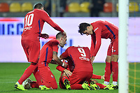 Marco Benassi of Fiorentina celebrates with team mates Marco Pjaca of Fiorentina, Cristiano Biraghi, Giovanni Simeone and Federico Chiesa after scoring a goal  during the Serie A 2018/2019 football match between Frosinone and ACF Fiorentina at stadio Benito Stirpe, Frosinone, November 09, 2018 <br />  Foto Andrea Staccioli / Insidefoto