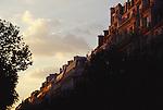 Paris, France, Boulevard St Germain, Latin Quarter, 6th Arrondissement, architecture, garrets and rooftops of Paris at sunset..