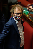 Deputies wearing colored masks, some with symbols of their parties, some with flags of their regions, or simply matched with their clothes at the Chamber of Deputies, during the final vote on the Justice Decree. In the picture Luca Lotti. Rome (Italy), June 25th 2020<br /> Foto Samantha Zucchi Insidefoto