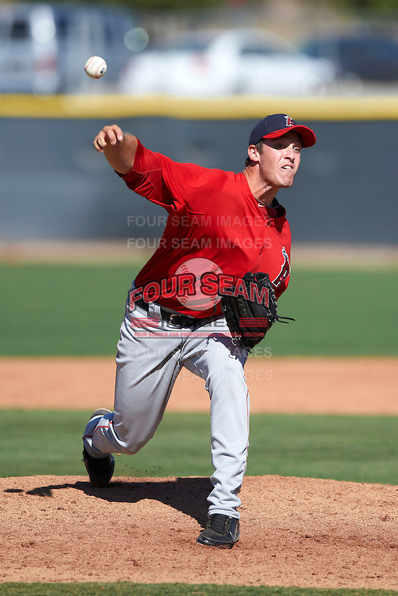 Los Angeles Angels minor league pitcher Austin Adams #52 during an instructional league game against the Arizona Diamondbacks at the Tempe Diablo Minor League Complex on October 1, 2012 in Tempe, Arizona.  (Mike Janes/Four Seam Images)