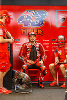 2nd October 2021; Austin, Texas, USA;  Jack Miller (43) - (AUS) in his pit before Free Practise 3 at the MotoGP Red Bull Grand Prix of the Americas held October 2, 2021 at the Circuit of the Americas in Austin, TX.