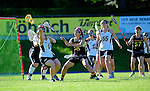 BERLIN, GERMANY - JUNE 22: Semifinal between Team Germany (black) vs LCC Radotin (white) during the Berlin Open Lacrosse Tournament 2013 at Stadion Lichterfelde on June 22, 2013 in Berlin, Germany. Final score 9-8. (Photo by Dirk Markgraf/www.265-images.com) *** Local caption *** #38 Jacklyn Au of Germany, #1 Sabine Paul of Germany