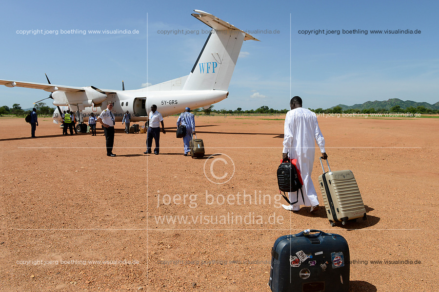 CHAD, Goz Beida, airport, aircraft of WFP world food programme a UN organization