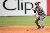Lehigh Valley IronPigs shortstop JP Crawford (3) fields a ground ball against the Toledo Mud Hens during the International League baseball game on April 30, 2017 at Fifth Third Field in Toledo, Ohio. Toledo defeated Lehigh Valley 6-4. (Andrew Woolley/Four Seam Images)