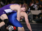 Nate Schiedel (V) and Dan Fruscella (III) square off in the NY State Division Two finals at the 189 weight class during the NY State Wrestling Championship finals at Blue Cross Arena on March 9, 2009 in Rochester, New York.  (Copyright Mike Janes Photography)